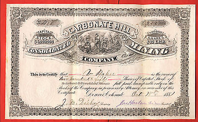 1881 Consolidated Carbonate Hill Mining Company Colorado Stock Certificate