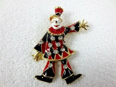 New Brooch Pin Black/red Color Ornament Enamel Crystal Rhinestone Jester Moving