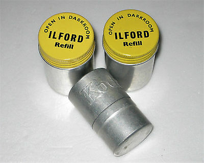 PAIR Vintage ILFORD CAMERA FILM CANISTERS