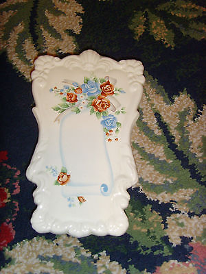 Sewing room scissors holder rack blue roses and scrolls vintage wall hanging