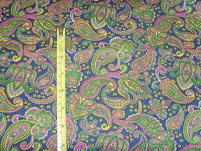 Midweight pretty paisley fabric material uneven edge 42x76 chic blue background