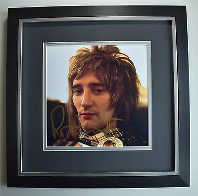 Rod Stewart SIGNED Framed LARGE Square Photo Autograph display Music AFTAL COA