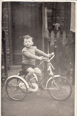 Young Boy Leslie Cousin  On Tricycle  Rp   Plain Back  1956