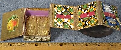 sewing needle box case hand made accordion holder gold foil tartan antique 1800