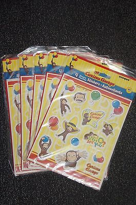 NEW Curious George Stickers - 4 sheets / pack 72 stickers total