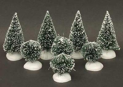 Department 56 Frosted Topiary Trees 8Pc Heritage Village Accessory 52035 Mib