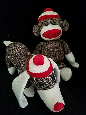 Webkinz PLUSH ONLY LOT of 2 :  KNIT SOCK MONKEY + KNIT SOCK DOG - JUST   PLUSH
