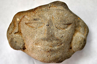 Ancient Authentic Zapotec Pre-Columbian Clay Carved Head / Face.