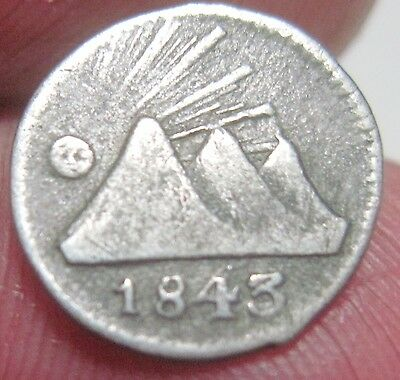 1843 -G (GUATEMALA) 1/4 REAL (SILVER) ---- CENTRAL AMERICAN REPUBLIC- very very