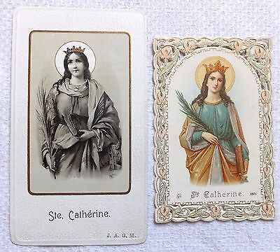 St Catherine Lot 2 Old Holy Card