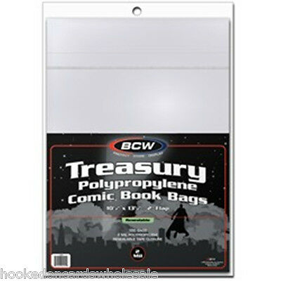 1 Pack 100 BCW Treasury Bags Comic Book Storage  - Resealable