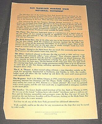Vintage 1970s San Francisco Maritime State Historical Monument California Flyer