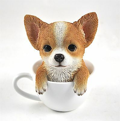 Chihuahua Puppy Dog in a Cup Decoration Gift Resin 5.75 in. New beegle Teacup