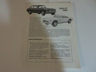 1960s MGB GT & MGB Sales Sheet Advertising Brochure FRENCH Canadian MG