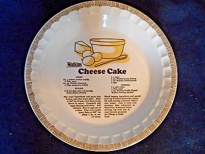 Vintage Watkins Cheese Cake Pie Recipe Pie Plate made in USA