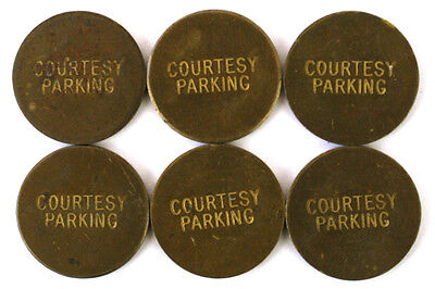 Lot Of Six Vintage Brass Cardkey Systems Courtesy Parking Tokens