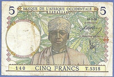 French West Africa 1938 5 Francs COFFEE, WEAVING P-21 140