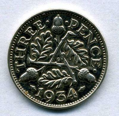 real silver 3d Three Pence coin 1934 VF for collecting or invest in silver