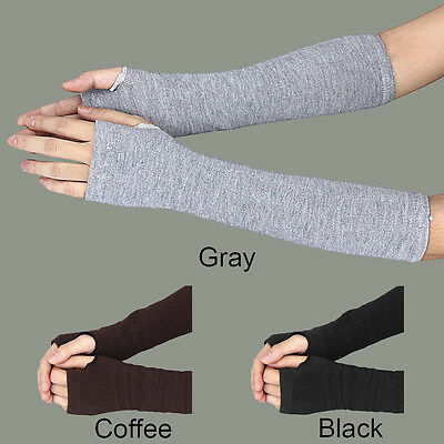 Winter Wrist Arm Hand Warmer Knitted Long Fingerless Elbow Womens Gloves Mittens