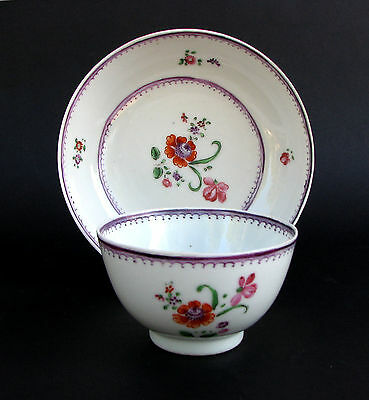 Antique Chinese Export Porcelain Tea Bowl & Saucer Compagnie Des Indes Qianlong