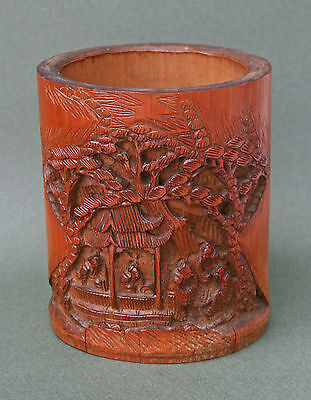 Antique Chinese Carved Bamboo Brush Pot - French Flea Market Find