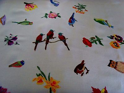 Rare Vintage Tablecloth Birds Owl Flowers Amazing Raised Hand Embroidery Lace