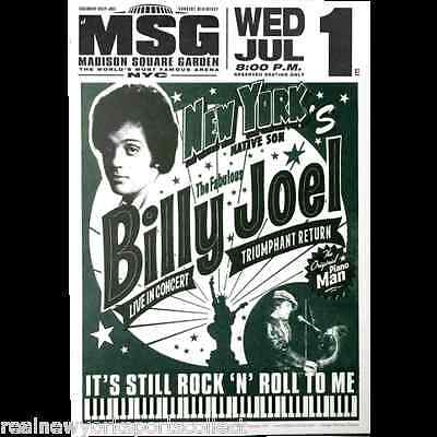 Billy Joel Madison Square Garden Poster 7/1/15 Record Breaking 65Th Msg Concert