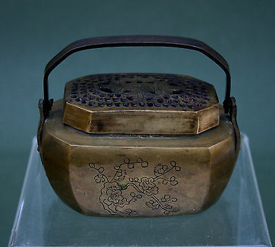 Small Antique Chinese Bronze Hand Warmer - French Flea Market Find