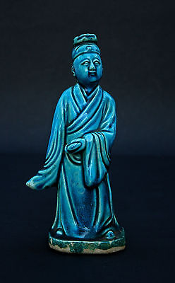 Antique Chinese Porcelain Immortal Figure Turquoise Glaze -  French Market Find