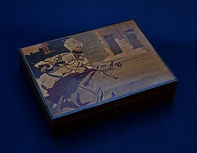 Antique Russian Marquetry Cigar Box Charging Cossack On Horseback