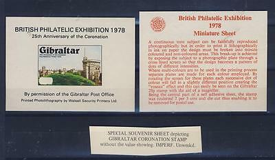 E- 16875 Gibraltar 1978 Special Expo Issue Coronation Stamp Without Value (Mnh)