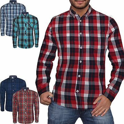 Mens Next Check Print Long Sleeve Casual Smart Work Flannel Shirt Cotton S-Xxl