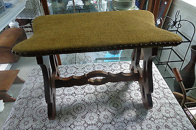 Antique vintage ornate wood foot stool with copper colored tacks