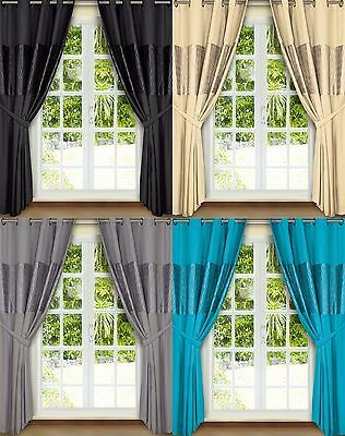 """Emerald Black Cream Teal Silver Eyelet Fully Lined Ready Made Curtains 66"""" X 72"""""""