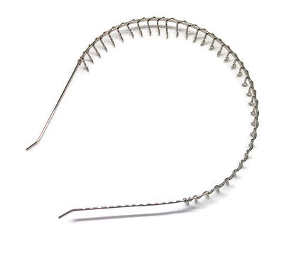 "12 Silver Metal Headband Head Bulk Hair Band 20mm 3/4"" with Wire Teeth BENT END"