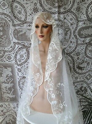 CIRCA 1900's, LOVELY ETHEREAL BRUSSELS PRINCESS LACE WEDDING VEIL