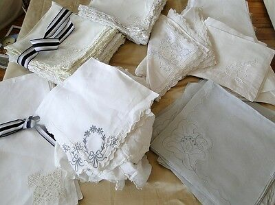 Antique Linens- Eight Assorted Napkin Sets,needlepoint,embroidery,filet Lace Etc