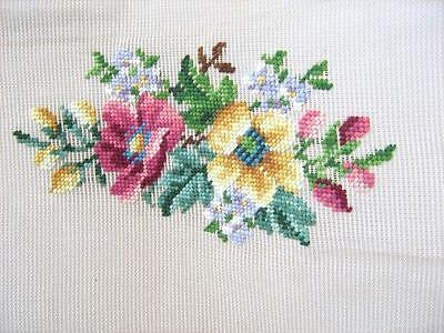 Hand embroidered wool centre on antique canvas Bucilla needle point Pre-worked