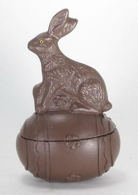 Small Traditional Faux Chocolate Easter Bunny Rabbit on Easter Egg Bowl