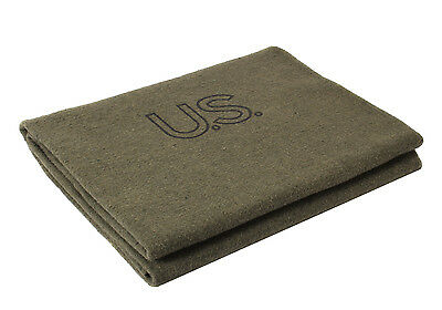 New US Army Blanket, Olive Drab, Wool, Made in USA.