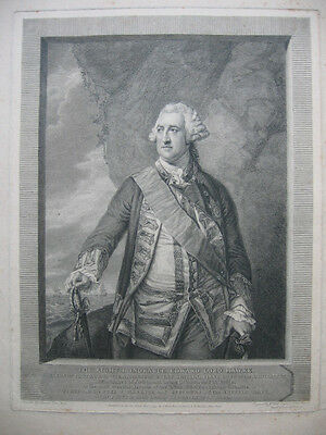 Radierung von John Hall: Admiral Edward Hawke 1793/Etching English, Sea Battle