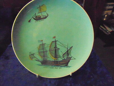 Nautical Ships Plate by Sandygate Pottery Devon 'Drake's Golden Hind' from 1950