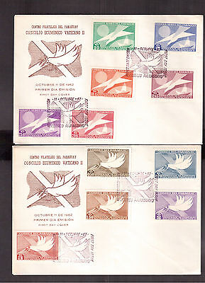 PARAGUAY 1962 SET OF 2 FIRST DAY COVERS # 715/25 THE 21st ECUMENICAL COUNCIL !!