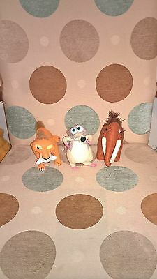 3 different 7 inch tall Disney Ice Age soft toys