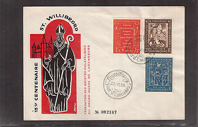 LUXEMBOURG 1958 FIRST DAY COVER # 334/36 ST. WILLIBRORD 1300th BIRTH ANNIV. !!