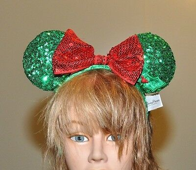Disney Parks Minnie Mouse Ears Christmas Holiday Sequin Headband Bow