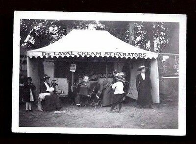 Rare photo De LAVAL CREAM SEPARATORS SALES BOOTH Baby Women Tent vintage antique