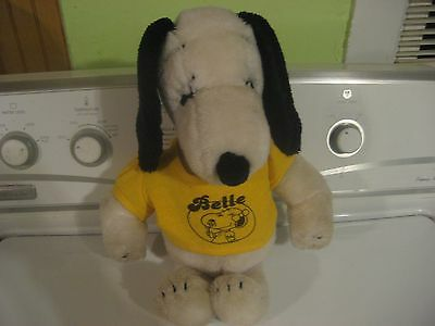 "1968 Belle Peanuts Snoopy 15"" Plush With Pictured Belle Shirt"