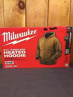 4 Piece Milwaukee 2375 Heated Men's Hoodie Tan Size 2X