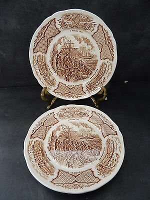 Meakin Fair Winds Brown  Pair  Bread  Plates